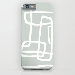 Abstract Interlocking Shapes No. 1 in Light Gray Green and White iPhone Case