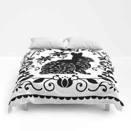 Woodland Folk Black And White Bunny Tile Comforters
