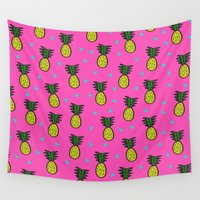 pineapples Wall Tapestries featuring Pineapples by Sandra Arduini