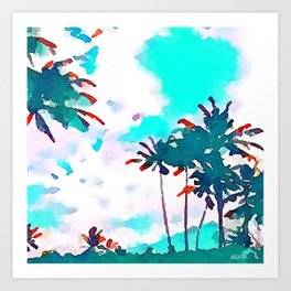 Lanikai Coconut Trees Art Print