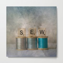 Sewing Blues Metal Print