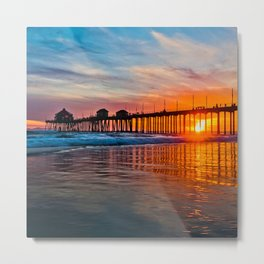 HB Sunsets - Sunset At The Huntington Beach Pier 3/10/16 Metal Print