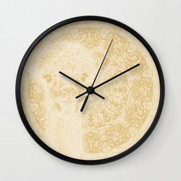 Ghostly alpaca and mandala in Iced Coffee browns Wall Clock