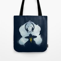 fullmetal Tote Bags featuring Little Brother by Bocaci