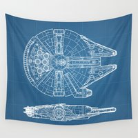 falcon Wall Tapestries featuring Millennium II by Vickn
