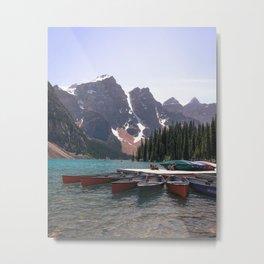 Moraine lake canoes Metal Print