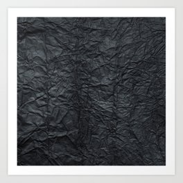 Abstract modern black gray creased paper texture Art Print