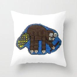 Crazy Beaver! Throw Pillow
