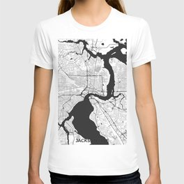 Jacksonville Map Gray T-shirt
