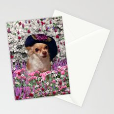 Chi Chi in Purple, Red, Pink, White Flowers, Chihuahua Puppy Dog Stationery Cards
