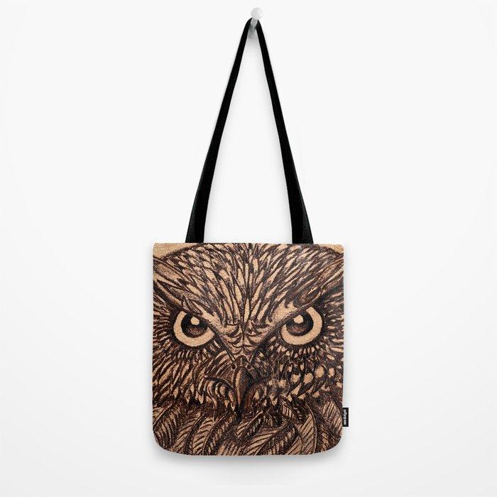 Fierce Brown Owl Tote Bag