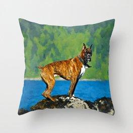 Boxer dog Watercolor Digital Art Throw Pillow