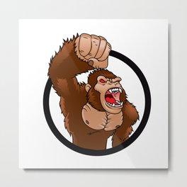 Angry gorilla cartoon Metal Print