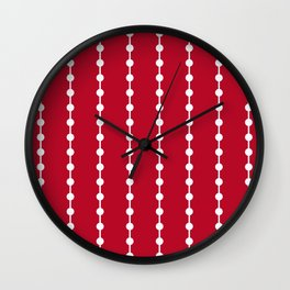 Geometric Droplets Pattern Linked - White on Red Wall Clock
