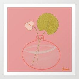 Anthurium and Palm  Art Print