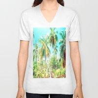 cuba V-neck T-shirts featuring Cuba , Palmeras ( Cuba palms ) by arnedayan