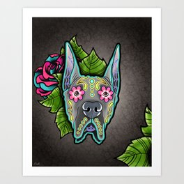 Great Dane with Cropped Ears - Day of the Dead Sugar Skull Dog Art Print