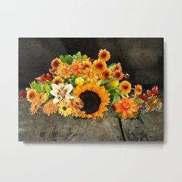 Fall Flowers on a Farm Table Metal Print