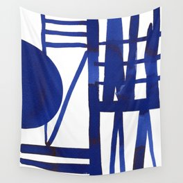 Blue grid -abstract minimalist ink painting Wall Tapestry