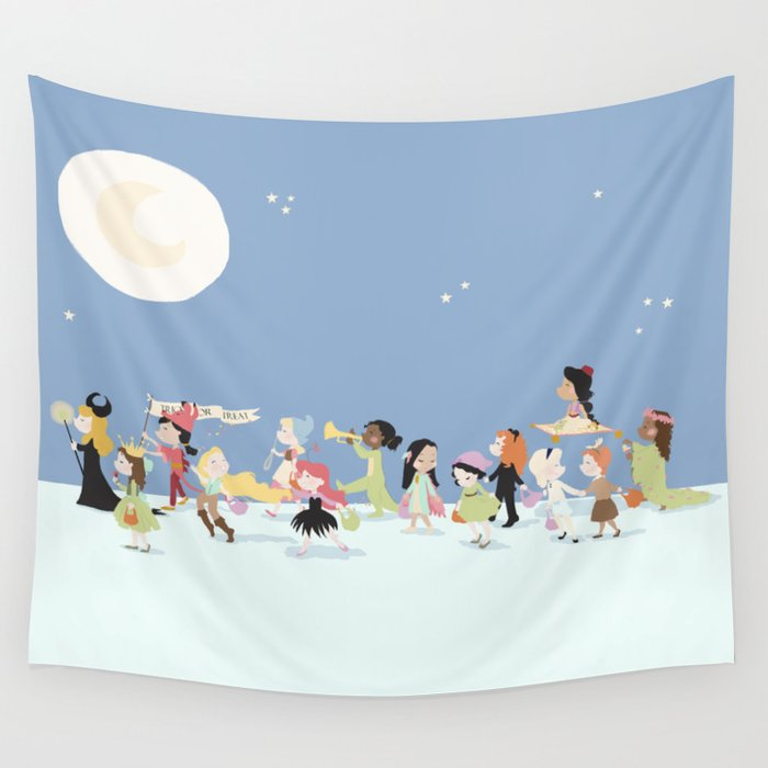 Halloween March - Blue Wall Tapestry