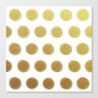 gold dots Canvas Prints featuring painted polka dots - gold by her art