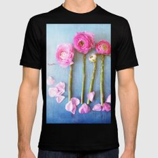Wild Flowers and Spring Asparagus MEDIUM Mens Fitted Tee Black