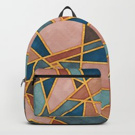 Abstract Desert Mosaic Watercolor with Gold Accents Backpack