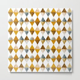 GRAPHIC PATTERN Funky triangles | golden Metal Print