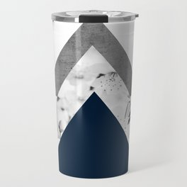 Blue grey monochrome blossom arrows Travel Mug