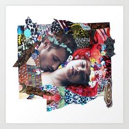 Klimt Kiss Collage Art Print