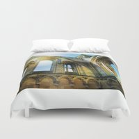 downton abbey Duvet Covers featuring Glastonbury Abbey  by Little Bunny Sunshine
