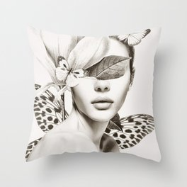PORTRAIT /Woman with flower and butterflies Throw Pillow