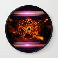 pentagram Wall Clocks featuring Pentagram  by nicky2342