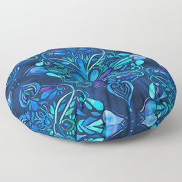 Deep Ocean Art Nouveau Watercolor Doodle Floor Pillow