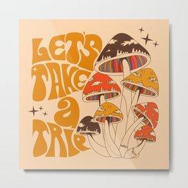 70s Mushroom, Take A Trip, Hippie Boho Metal Print