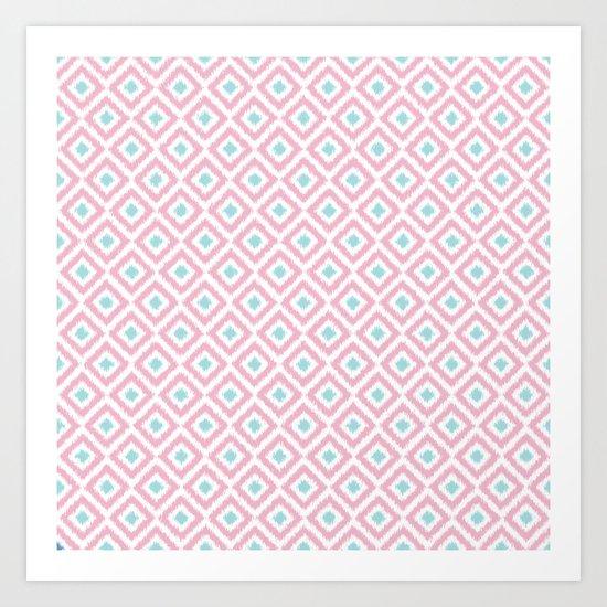Pink and Mint Diamonds Ikat Pattern Art Print