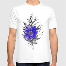 Blue Flower Feather Mens Fitted Tee White MEDIUM