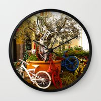 bicycles Wall Clocks featuring Colorful Bicycles by Art-Motiva
