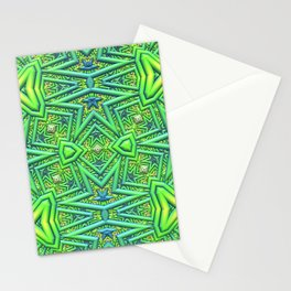 Pointy pattern in green, yellow, and blue Stationery Cards