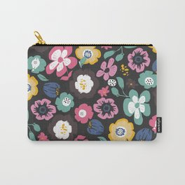 flower garden at night retro pattern Carry-All Pouch