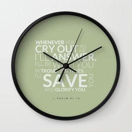 Psalm 91:15 Bible Verse - Sage Pastel Greens Wall Clock