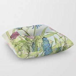 Columbine Garden Flower Watercolor Floor Pillow