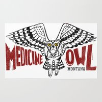 medicine Area & Throw Rugs featuring Medicine Owl Mountain by Monica McClain