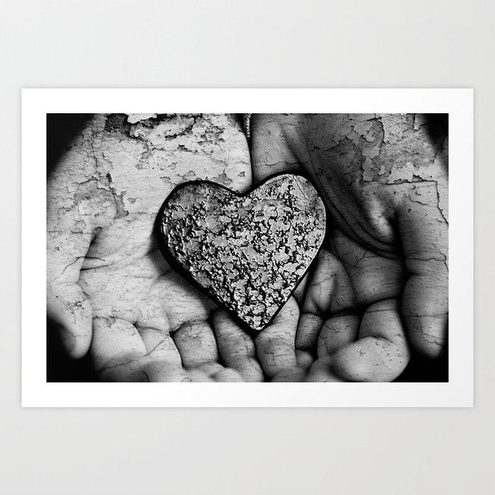 Crumling Heart Art Print