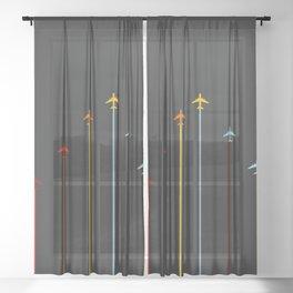 Retro Airplanes 07 Sheer Curtain