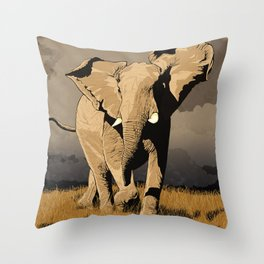The Elephant's Marching Throw Pillow
