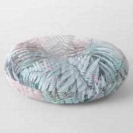 Duotone Fern Jungle on Soft Pink Floor Pillow