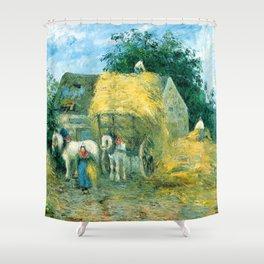 "Camille Pissarro ""The Hay Cart, Montfoucault"" Shower Curtain"