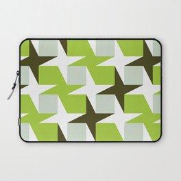 Geometric Pattern #96 (green squares white stars) Laptop Sleeve