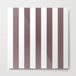 Deep taupe grey - solid color - white vertical lines pattern Metal Print